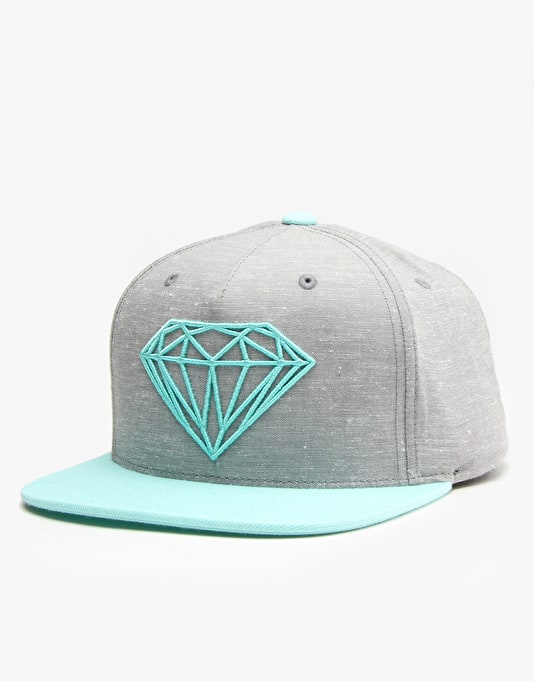 Diamond Brilliant Snapback Cap - Heather Grey/Diamond Blue