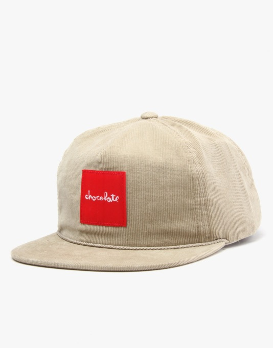 Chocolate Red Square Cord 5 Panel Cap - Tan