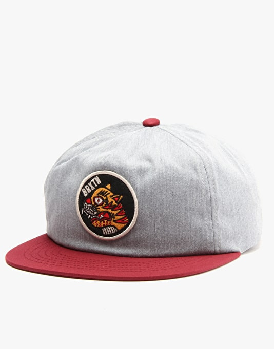 Brixton Dwight Snapback Cap - Heather Grey/Burgundy
