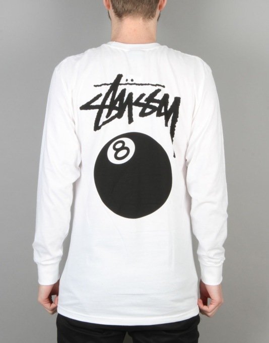 Stussy 8 Ball L/S T-Shirt - White