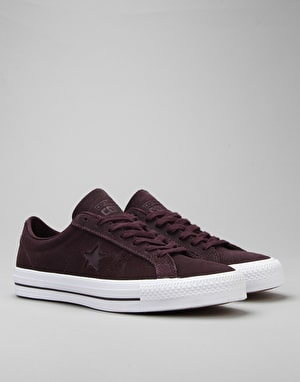 Converse One Star Pro Skate Shoes - Black Cherry/Black Cherry/White