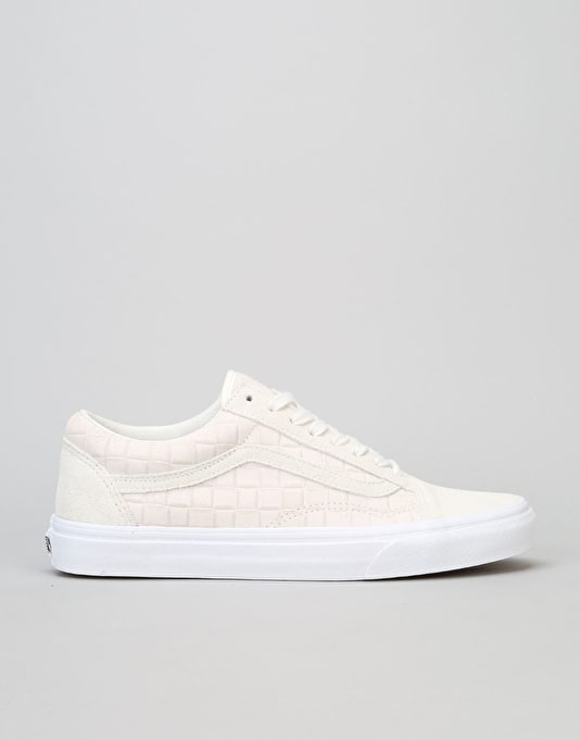 Vans Old Skool Skate Shoes - (Suede Checkers) White