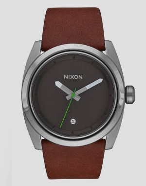 Nixon Kingpin Leather Watch - Silver/Brown