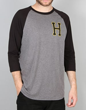 HUF Classic H Regal Raglan T-Shirt - Black/Grey Heather