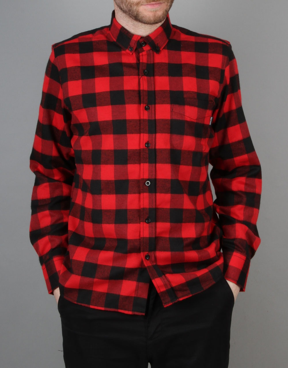 Route One Buffalo Check Flannel Shirt Red Black Long
