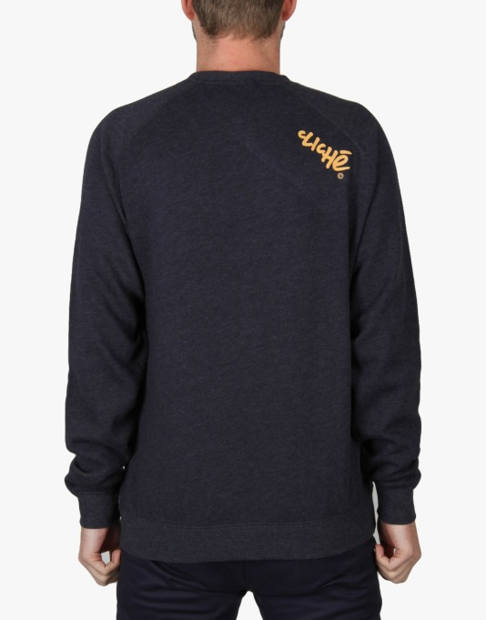 Cliché x Jon Horner God Skates Curbs Crew Sweatshirt - Navy Heather