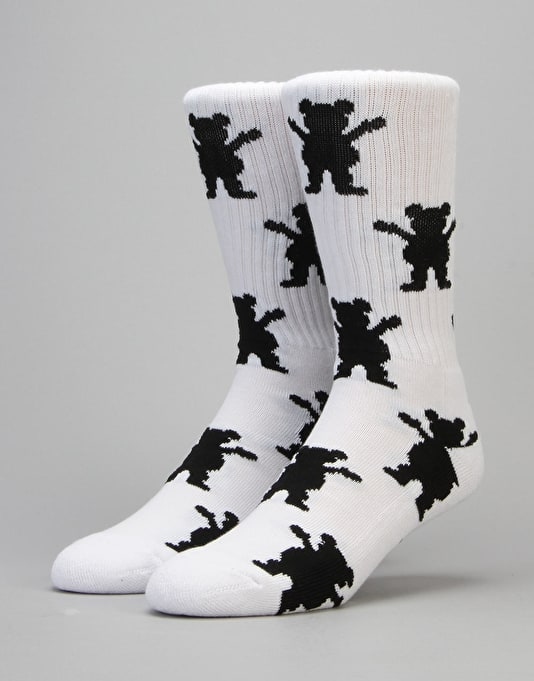 Grizzly Repeat Socks - White
