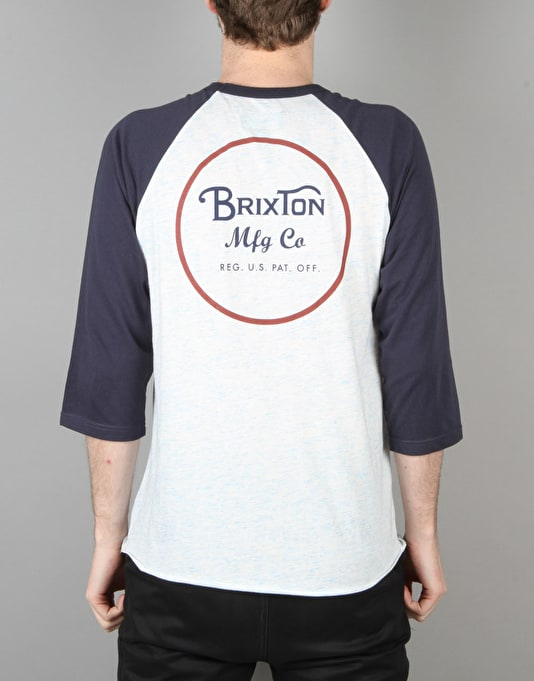 Brixton Wheeler 3/4 Sleeve T-Shirt - Heather Blue/Navy