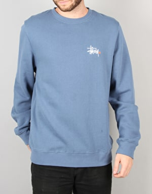 Stüssy Basic Logo Applique Crew Sweatshirt - Steel