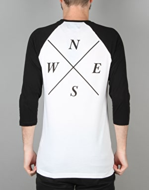 Route One Four Corners Raglan T-Shirt - White/Black