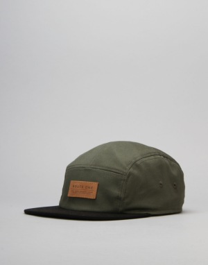 Route One Soft Goods 5 Panel Cap - Olive/Black