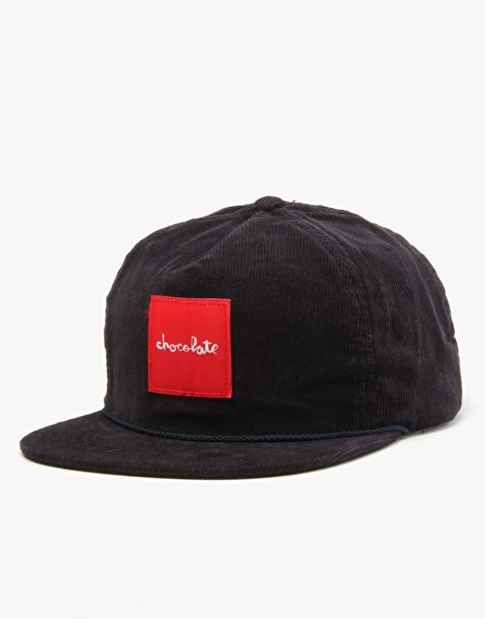 Chocolate Red Square Cord 5 Panel Cap - Navy