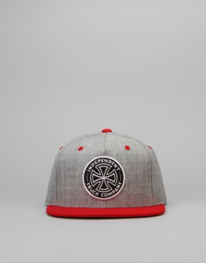 Independent Cross Cap - Heather Grey/Cardinal Red