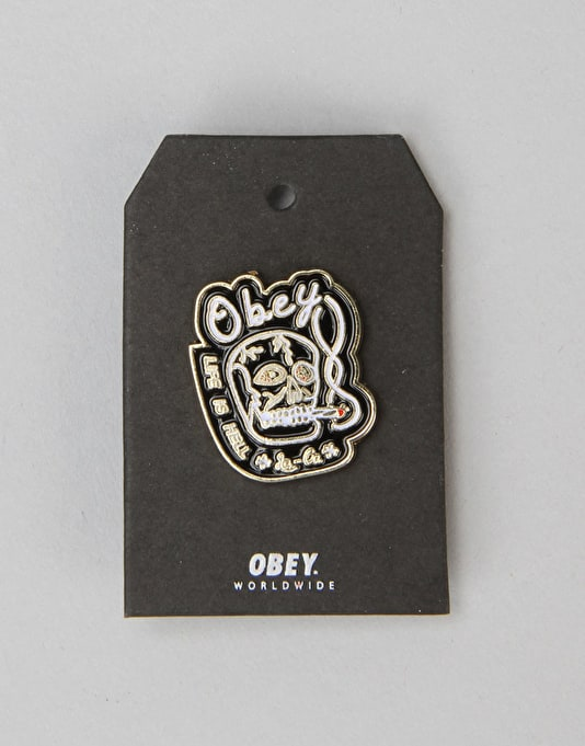 Obey Life Is Hell Pin - Black