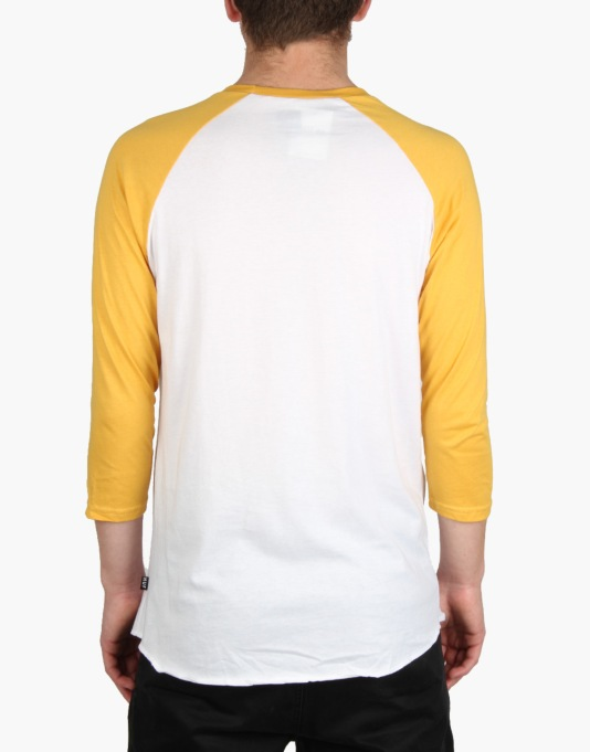 HUF Authentic Raglan T-Shirt - White/Mustard