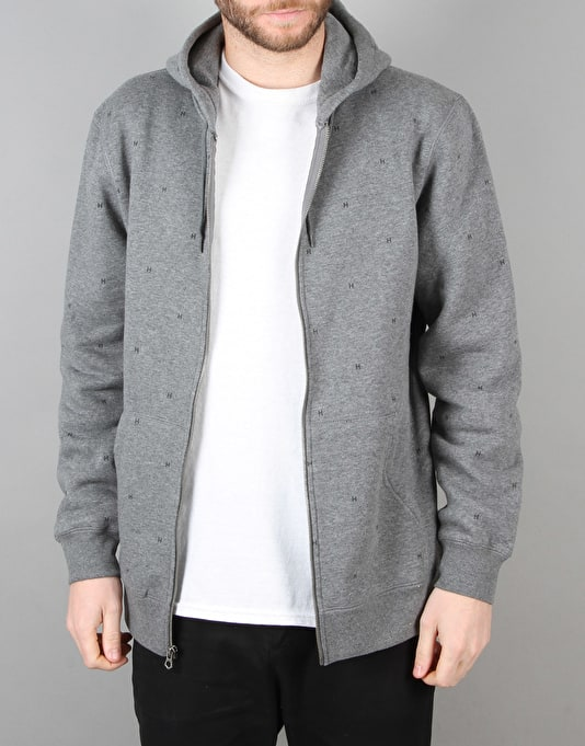 HUF Tonal Monogram Zip Hoodie - Gunmetal Heather
