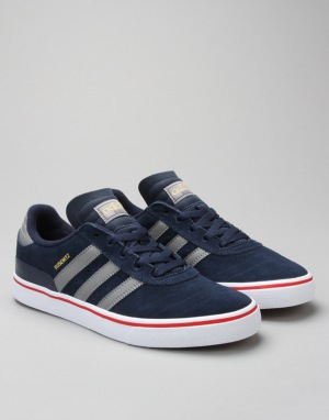 Adidas Busenitz Vulc Skate Shoes - Collegiate Navy/Grey/Scarlet