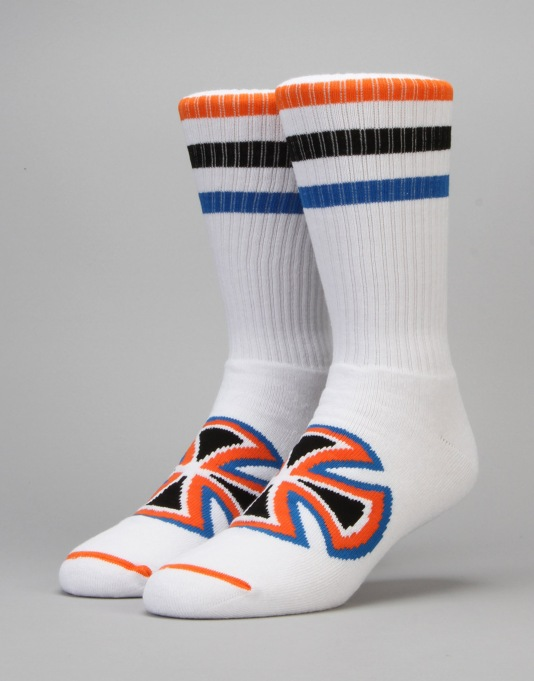 Independent Coloured Stripe Socks - White