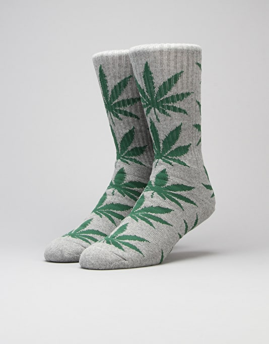HUF Plantlife Crew Socks - Grey Heather/Green