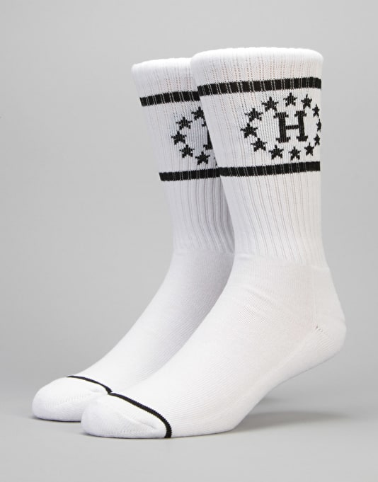 HUF 12 Galaxies Crew Socks - White