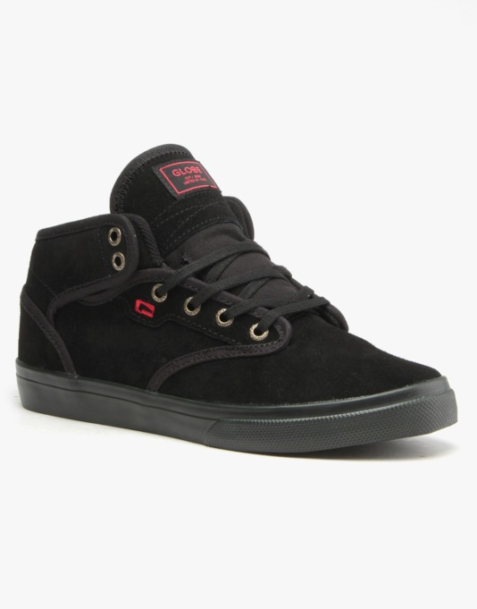 Globe Motley Mid Skate Shoes - Black/Black/Red