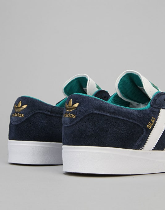 Adidas Silas Vulc ADV Skate Shoes - Collegiate Navy/White/Gold Met.