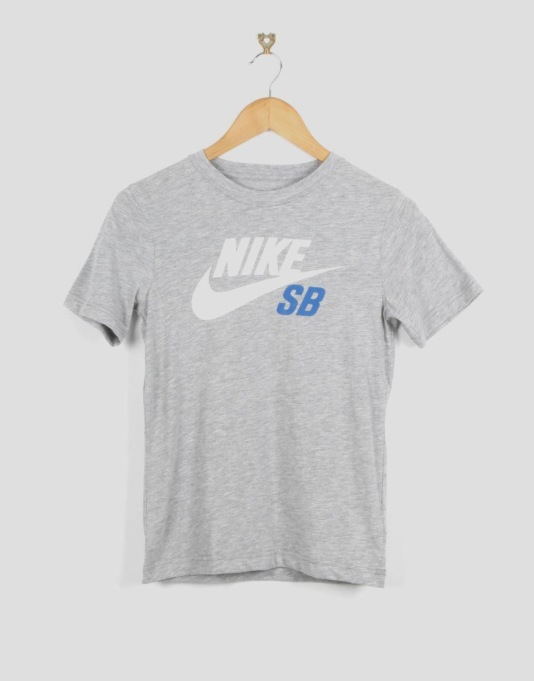 Nike SB Logo Boys T-Shirt - Dark Grey Heather/White