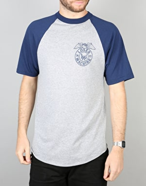 Loser Machine Stamped S/S Raglan T-Shirt - Heather Grey/Navy