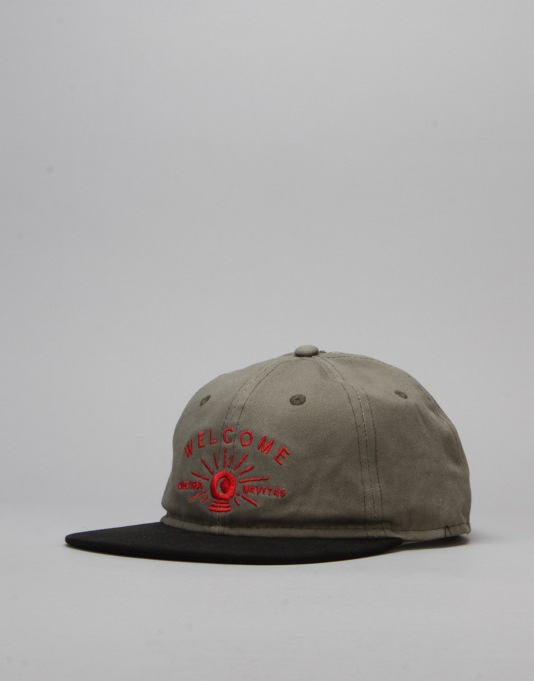 Welcome Dark Energy Unstructured 6 Panel Slider Cap - Olive/Black