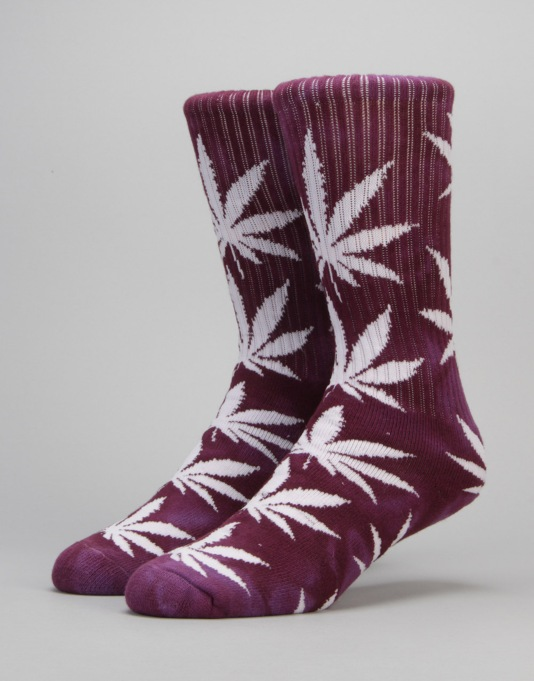 HUF Tie Dye Plantlife Crew Socks - Purple/Dark Purple