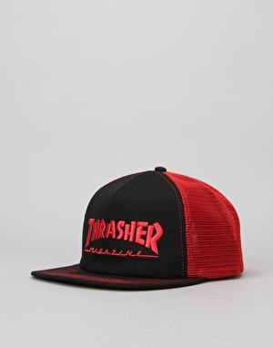 Thrasher Magazine Logo Mesh Snapback Cap - Red/Black