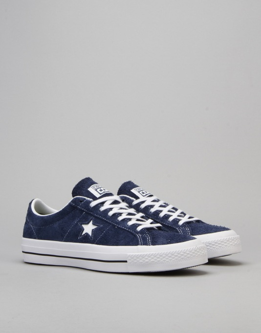 Converse One Star Skate Shoes - Navy/White/Gum