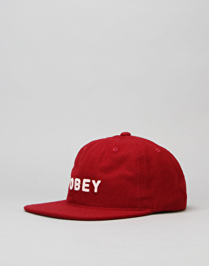 Obey Afton 6 Panel Cap - Burgundy