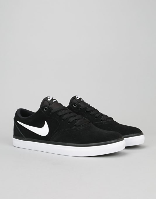 Nike SB Check Solarsoft Skate Shoes - Black/White