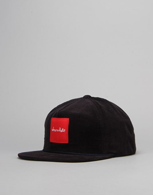 Chocolate Red Square Cord Snapback Cap - Navy
