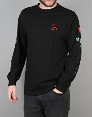 HUF Rose Stem Long Sleeve T-Shirt - Black/Red