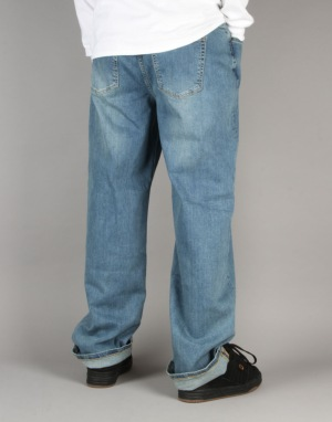 Route One Baggy Denim Jeans - Washed Blue