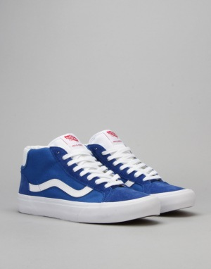 Vans Mid Skool Pro Skate Shoes - 79 Blue/White