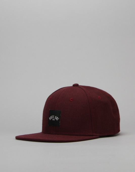 Route One Box Logo Snapback Cap - Burgundy