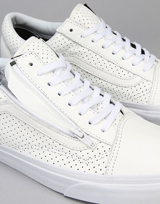 Vans Old Skool Zip Skate Shoes - (Perf Leather) True White