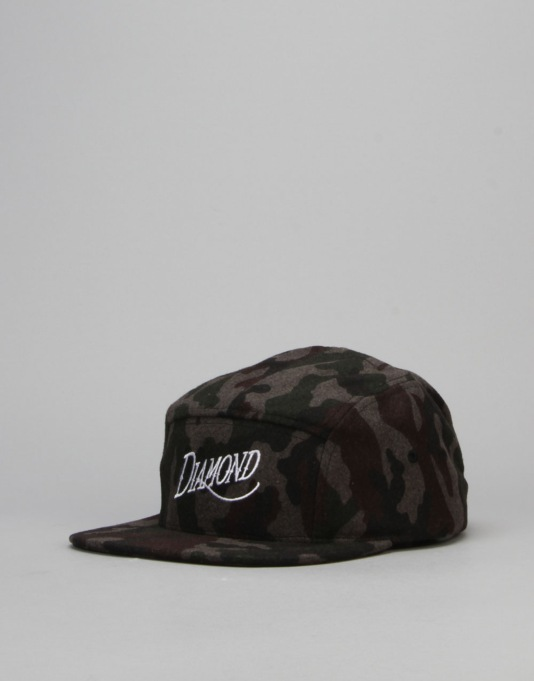 Diamond Supply Co. Camo Wool 5 Panel Cap - Black