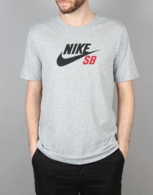 Nike SB Dri-FIT Icon Logo T-Shirt - Dk Grey Heather/Dk Grey/Red