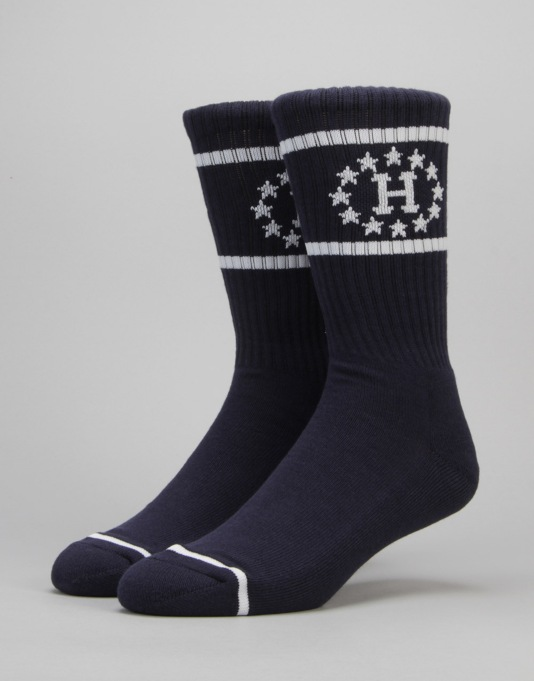 HUF 12 Galaxies Crew Socks - Navy