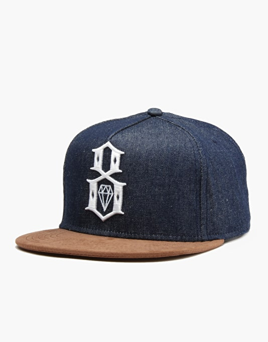Rebel8 Logo Snapback Cap - Raw Denim
