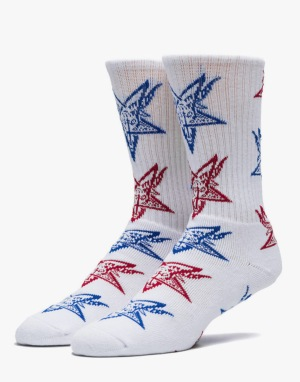 HUF x Thrasher Goat Crew Socks - White/Red/Blue