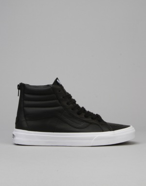 Vans SK8-Hi Reissue Zip Skate Shoes - (Premium Leather) Black/White