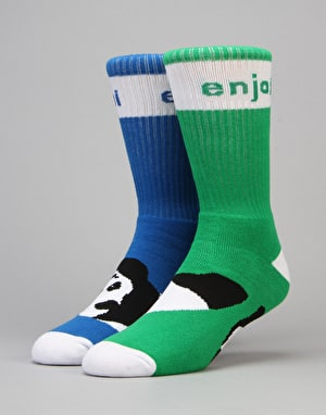 Enjoi Mixed Panda Feet Socks - Blue/Green