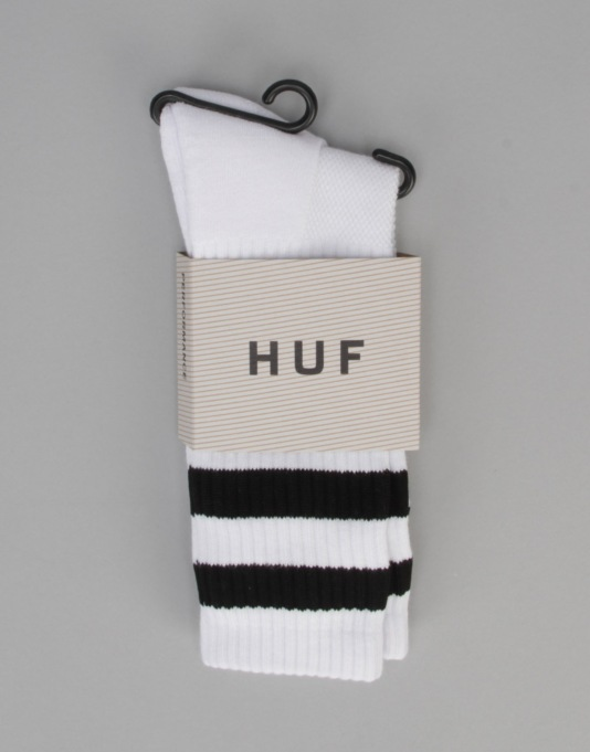 HUF 2 Stripe Crew Socks - White
