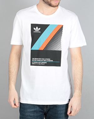 Adidas VHS Block T-Shirt - White/Black/ Energy Blue/Energy