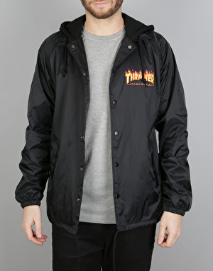 Thrasher Flame Logo Hooded Coach Jacket - Black